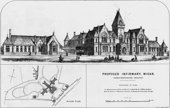 1870 – Proposed Infirmary, Wigan, Lancashire
