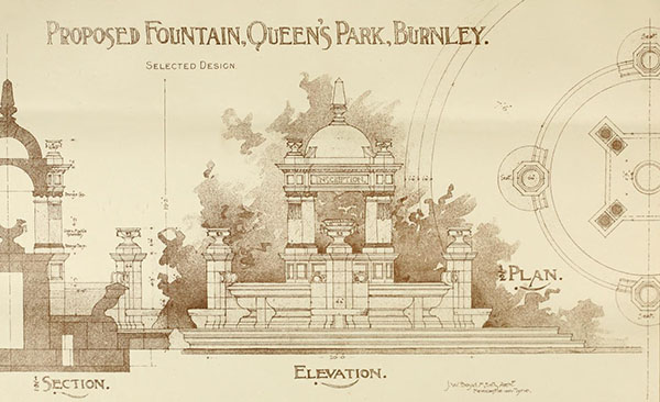 1898 – Proposed Fountain, Queens Park, Burnley, Lancashire