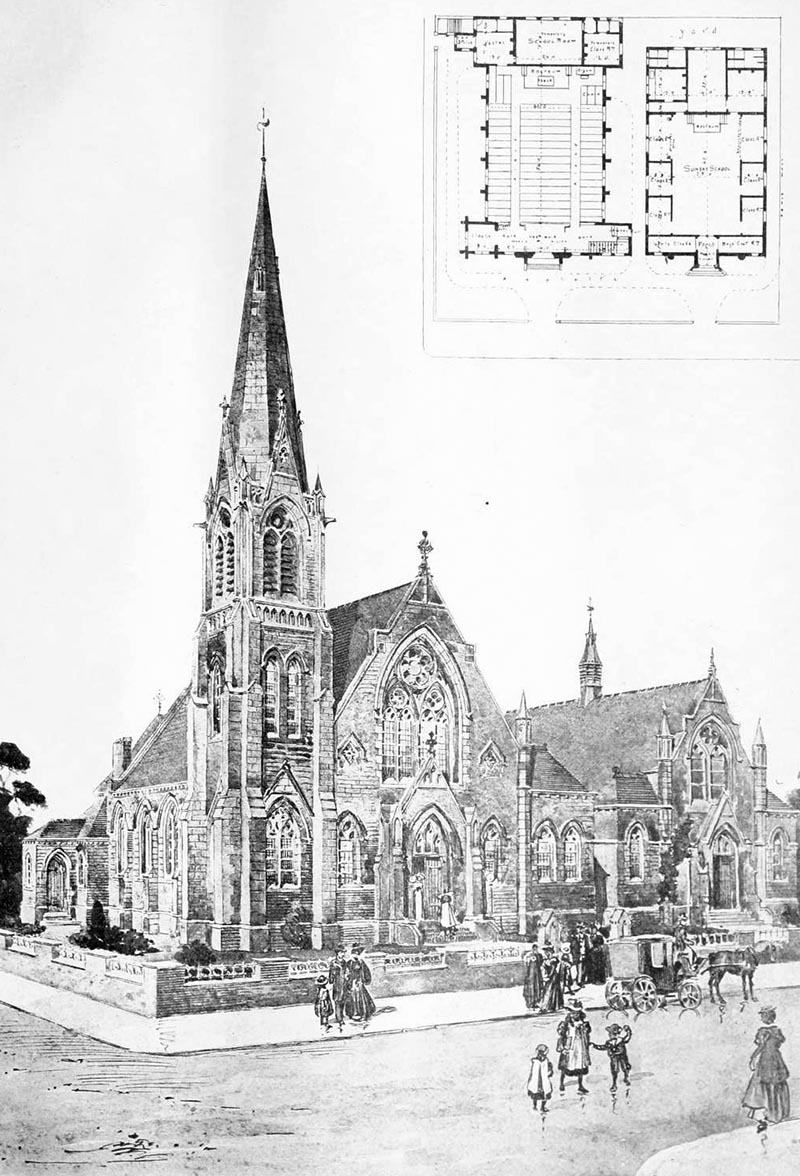 1900 – Church and Schools, Wareley Rd., Blackpool, Lancashire