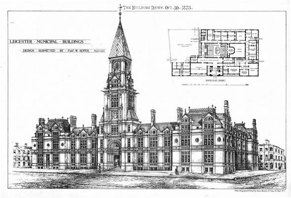 1873 &#8211; Municipal Buildings, Leicester, Leicestershire