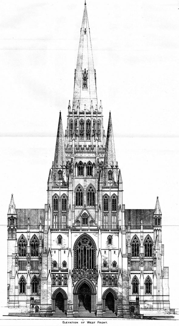 1886 – Second placed design for Liverpool Cathedral