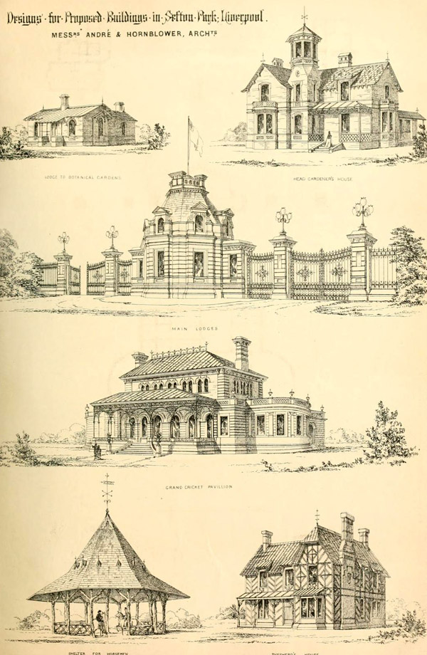 1867 – Designs for proposed buildings in Sefton Park, Liverpool