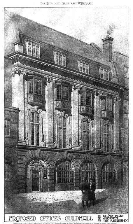1908 &#8211; Proposed Offices, Guildhall, London