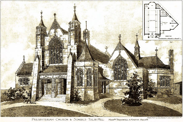 1895 &#8211; Presbyterian Church and Schools, Tulse Hill, London