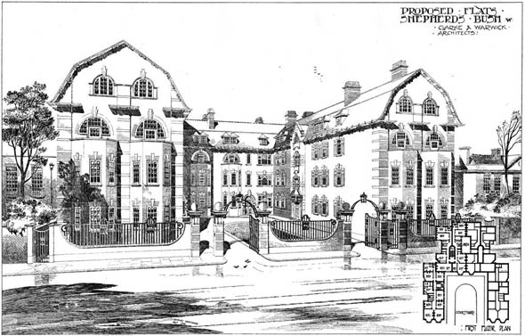 1903 &#8211; Proposed Flats, Shepherds Bush, London