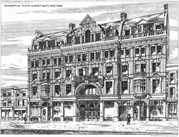 1884 – Residential Flats, Albert Gate, Hyde Park, London