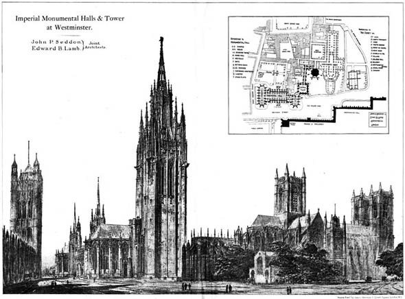 1904 – Imperial Monumental Halls & Tower at Westminster, London
