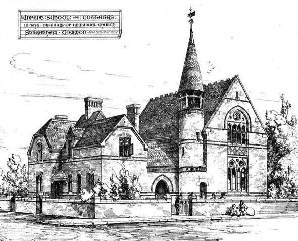 1872 &#8211; Infant School &#038; Cottages, Streatham Common, London