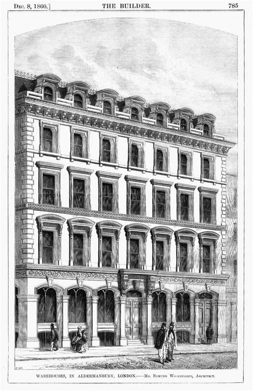 1860 &#8211; Warehouses in Aldermanbury, London