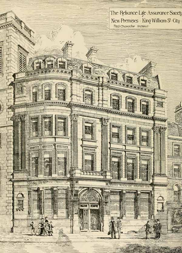 1880 – The Reliance Life Assurance Society, King William Street, London