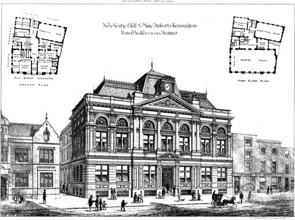 1878 – New Vestry Hall, St. Mary Abbots, Kensington, London