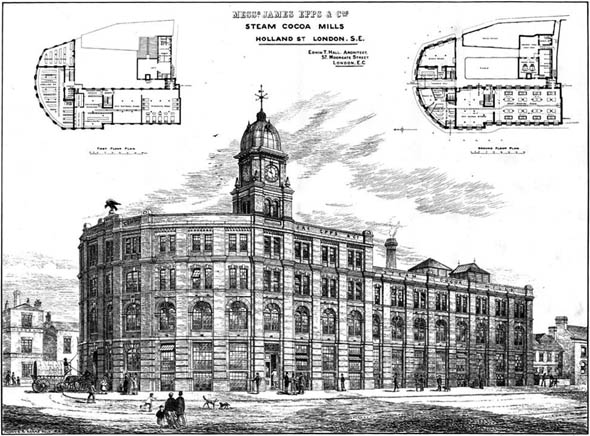 1878 – James Epps & Co, Steam Cocoa Mills, Holland Street, London