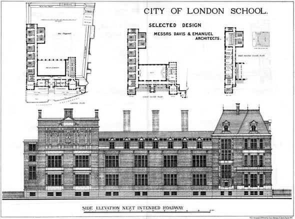 1879 – Selected design  for City of London School, London