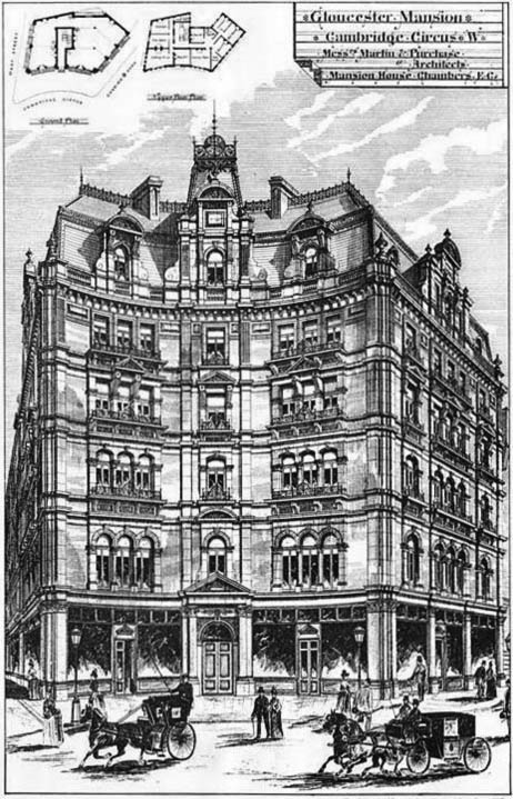 1892 &#8211; Gloucester Mansions, Cambridge Circus, London