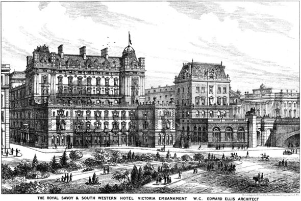 1877 – Royal Savoy & South Western Hotel, Victoria Embankment, London