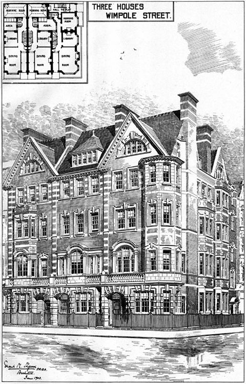 1906 &#8211; Three Houses, Wimpole Street, London