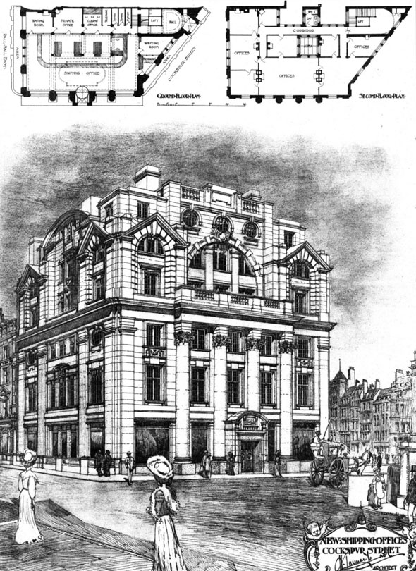 1905 &#8211; New Shipping Offices, Cockspur Street, London