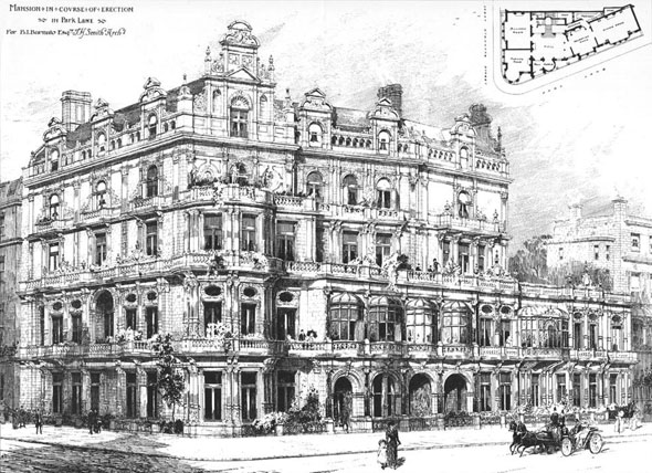 1896 &#8211; Mansion in Course of Erection, Park Lane, London