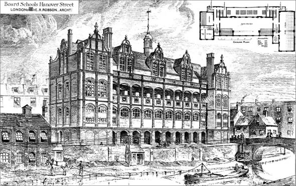 1879 – Board Schools, Hanover Street, London