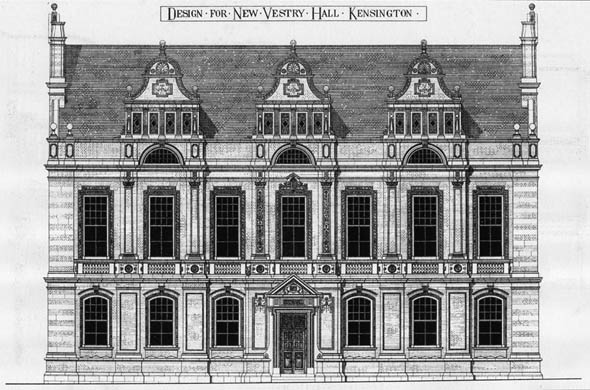 1877 &#8211;  Design for a New Vestry Hall, Kensington, London