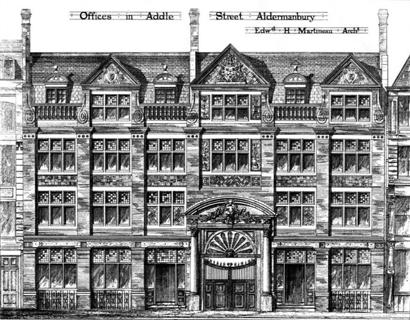 1880 – Offices in Addle Street, Aldermanbury, London