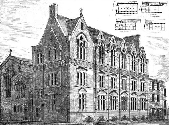 1875 &#8211; New Vestries, Choir Schools, Well Street, London