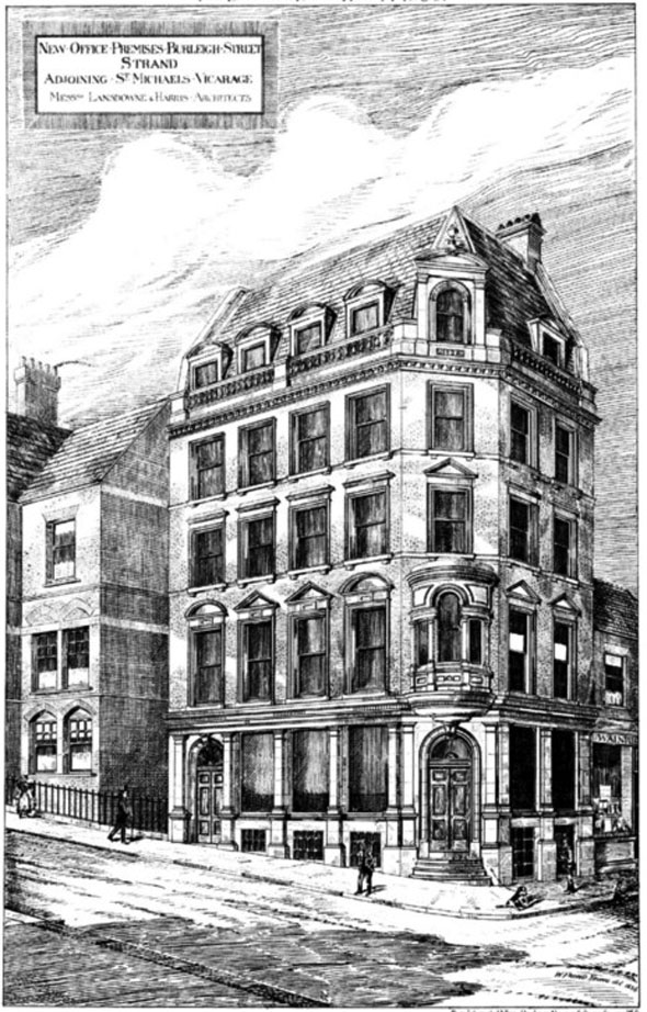 1886 – Office Premises, Burleigh Street, The Strand, London