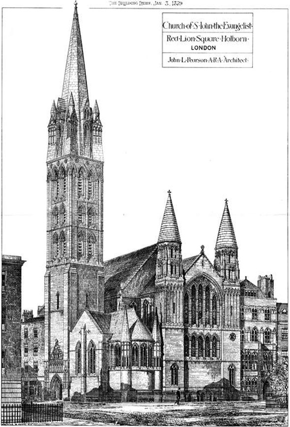 1879 – Church of St. John the Evangelist, Red Lion Square, Holborn, London