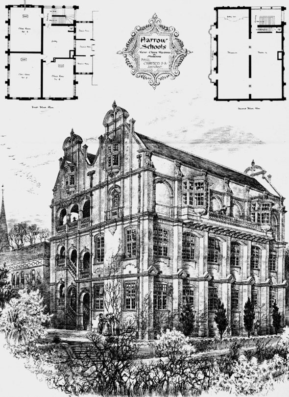 1886 – New Class Rooms & Museum, Harrow School, London
