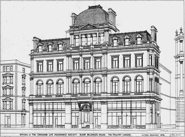 1878 –  Saint Mildred's House, The Poultry, London