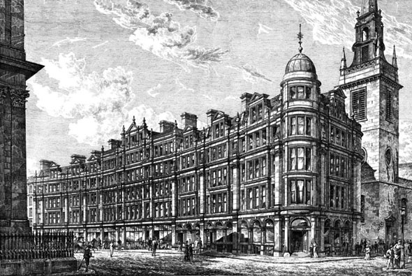 1886 &#8211; Warehouses on the fomer site of St. Paul&#8217;s Schools, London