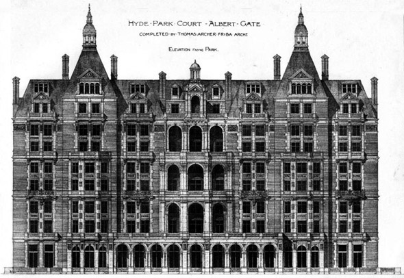 1892 – Hyde Park Court, Albert Gate, Kensington, London