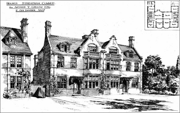 1875 &#8211; Houses at Streatham Common, London
