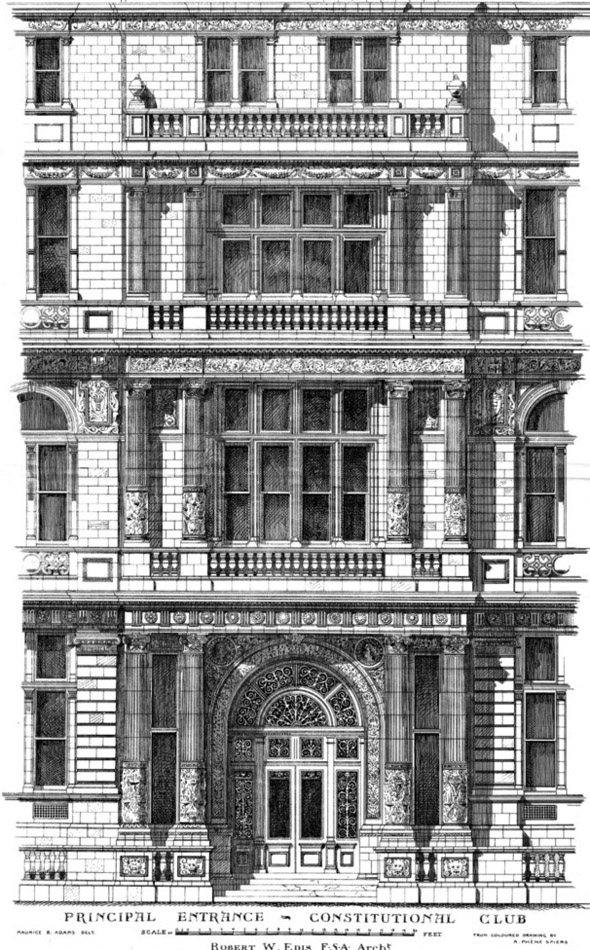 1886 – Principal Entrance, Constitutional Club, London