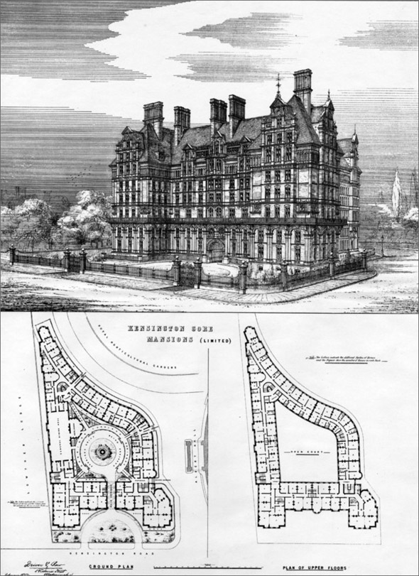1886 &#8211; Kensington Gore Mansions, Kensington, London