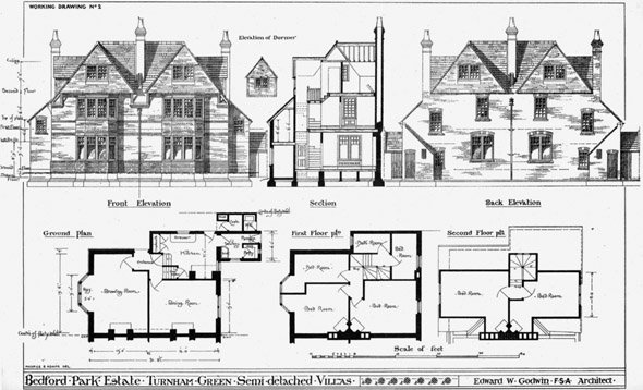 1877 – Semi-detached Villas, Bedford Park Estate, Turnham Green, London