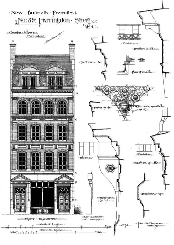 1880 &#8211; New Business Premises, No.89 Farringdon St, London