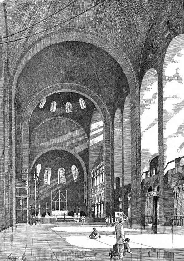 1902 &#8211; Interior of Westminster Cathedral under construction