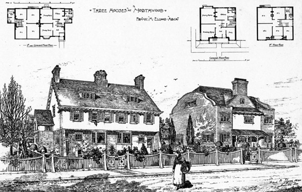 1900 &#8211; Three Houses at Northwood, London