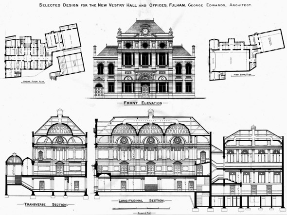 1886 – New Vestry Hall & Offices, Fulham, London