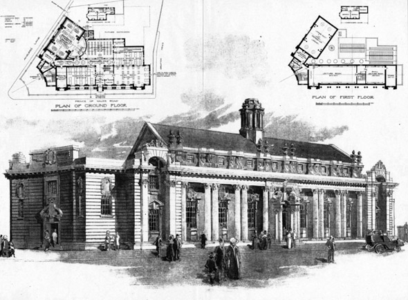 1906 – Design for a Central Library, St. Pancras, London