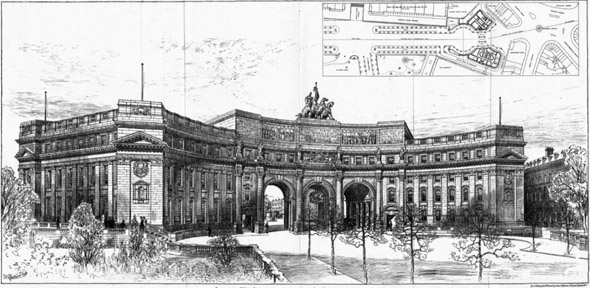 1888 &#8211; Proposed Building, The Mall, London