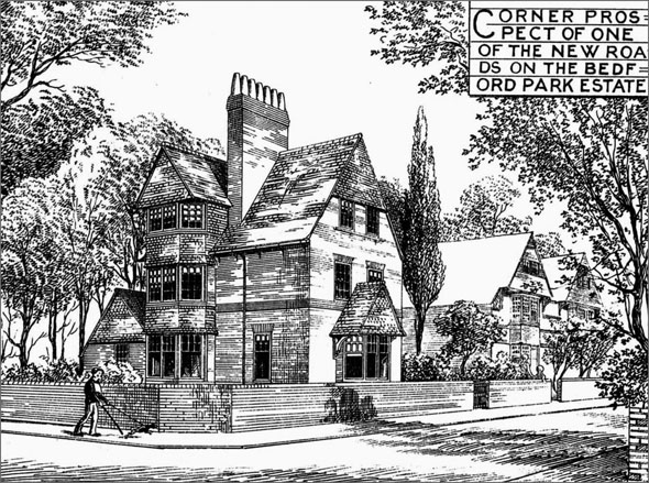 1876 – Villas for Corner Sites, Bedford Park, Chiswick, London