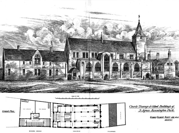 1875 – St. Agnes Church, Vicarage & School, Kennington Park, London