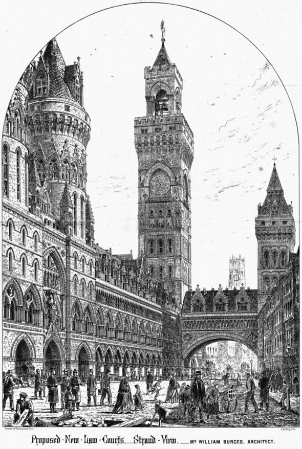1867  William Burges&#8217; Design for Royal Courts of Justice, London