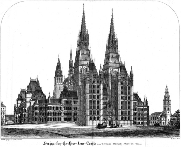 1865 – Design for Royal Courts of Justice, London by Raphael Brandon