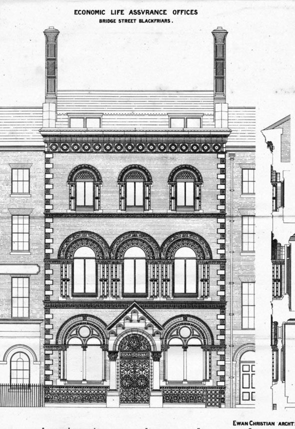 1873 – Economic Life Assurance Offices, Blackfriars, London