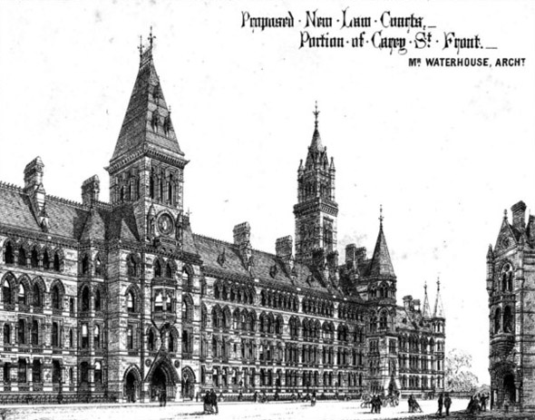 1867  Waterhouse&#8217;s Design for Royal Courts of Justice, London