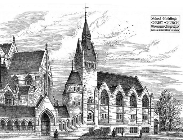 1876 – School Buildings, Christ Church, Westminster Bridge Road, London