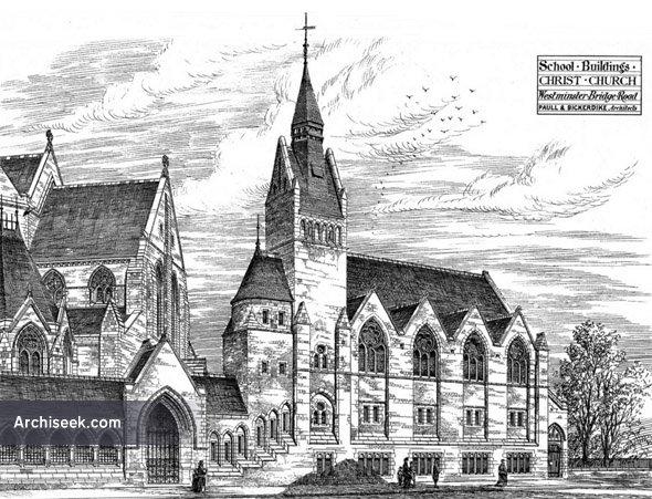 1876 – School Buildings, Christ Church, Westminster Bridge Road, London